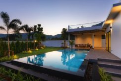 91 Landscaped gardens with evening lights