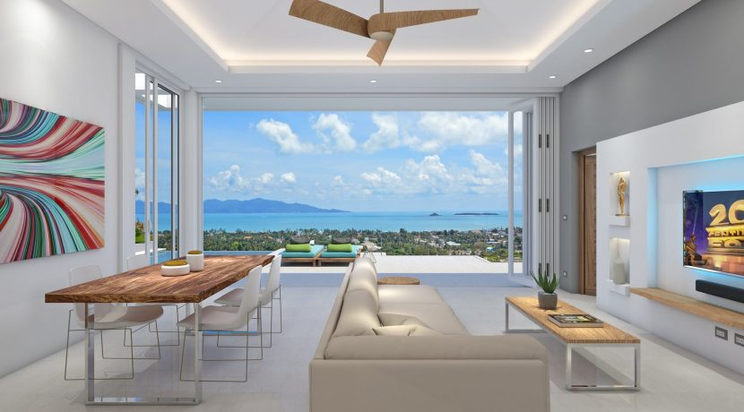 04 Spacious living-dining room with sea view