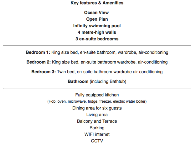 12 Villa key features