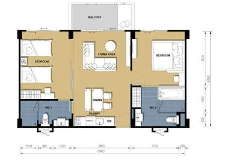 71 TCS Floorplan (2-Bedroom unit)
