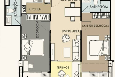 90 Condo layout (2 Bedroom)